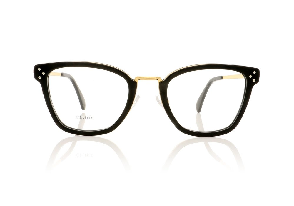 CELINE- CL50002U Opticals   £360   COLOUR  Black/Gold   CATEGORY  Opticals   MATERIAL  Metal   SHAPE  Rectangular