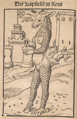 Satirical cartoon from 1500s. Title: 'The Ass-Pope of Rome'/'Der Bapstesel zu Rom'