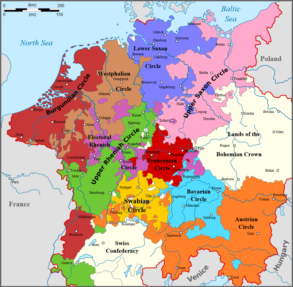 Map of the Holy Roman Imperial Circles, circa 1512, Courtesy of  www.en.numista.com