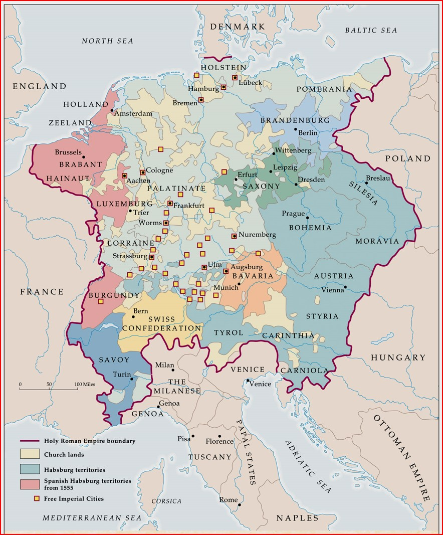 Map of the Holy Roman Empire in mid 1500s, Map courtesy of Susan M. Pojer.