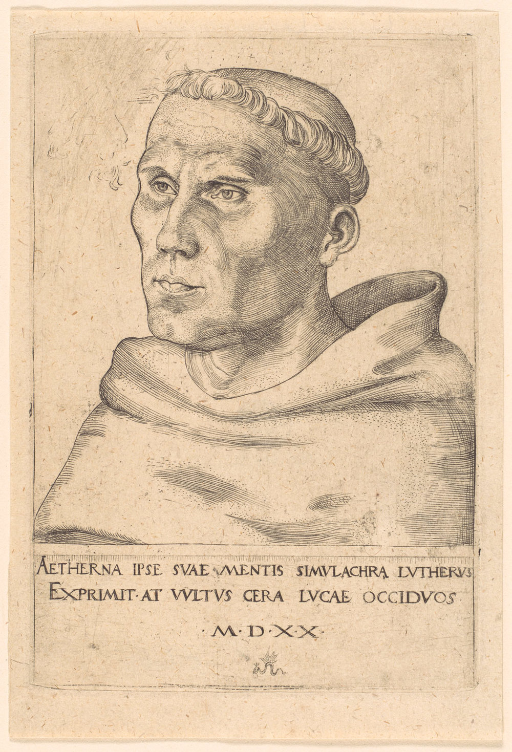 Engraving of Luther as a monk, Cranach, 1520. Text implies that, while Luther's ideas may be eternal, the paper, the subject and the artist will all pass away.