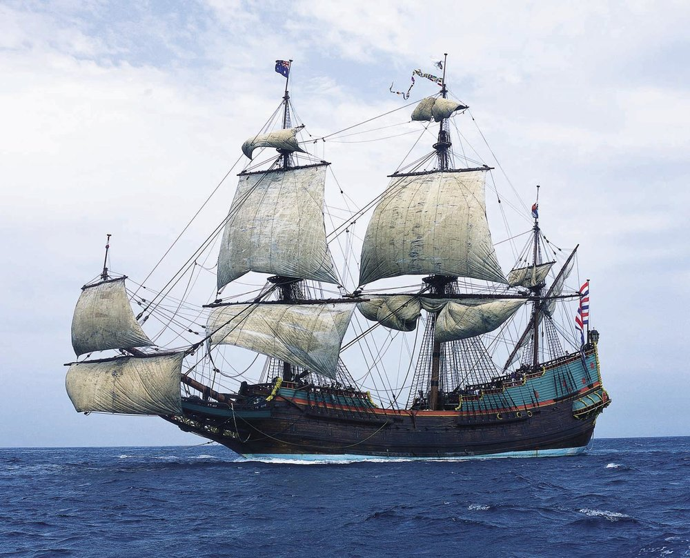The reconstructed    Batavia  under sail  Source