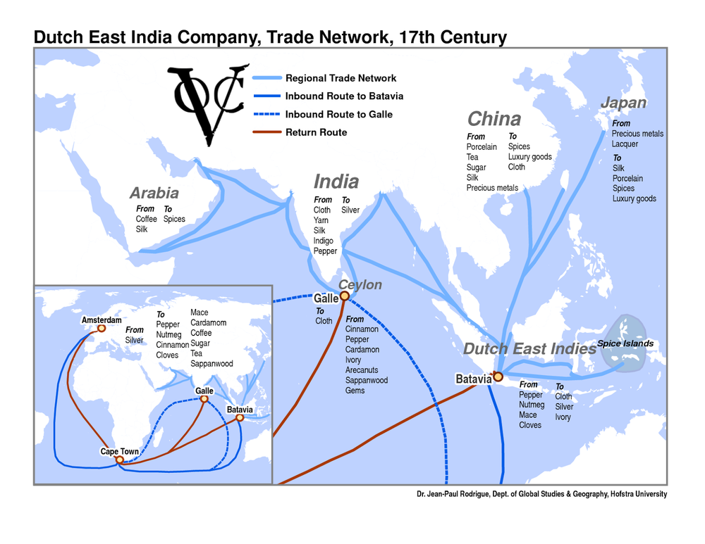 VOC trade network. Take note of what goods came from which places.