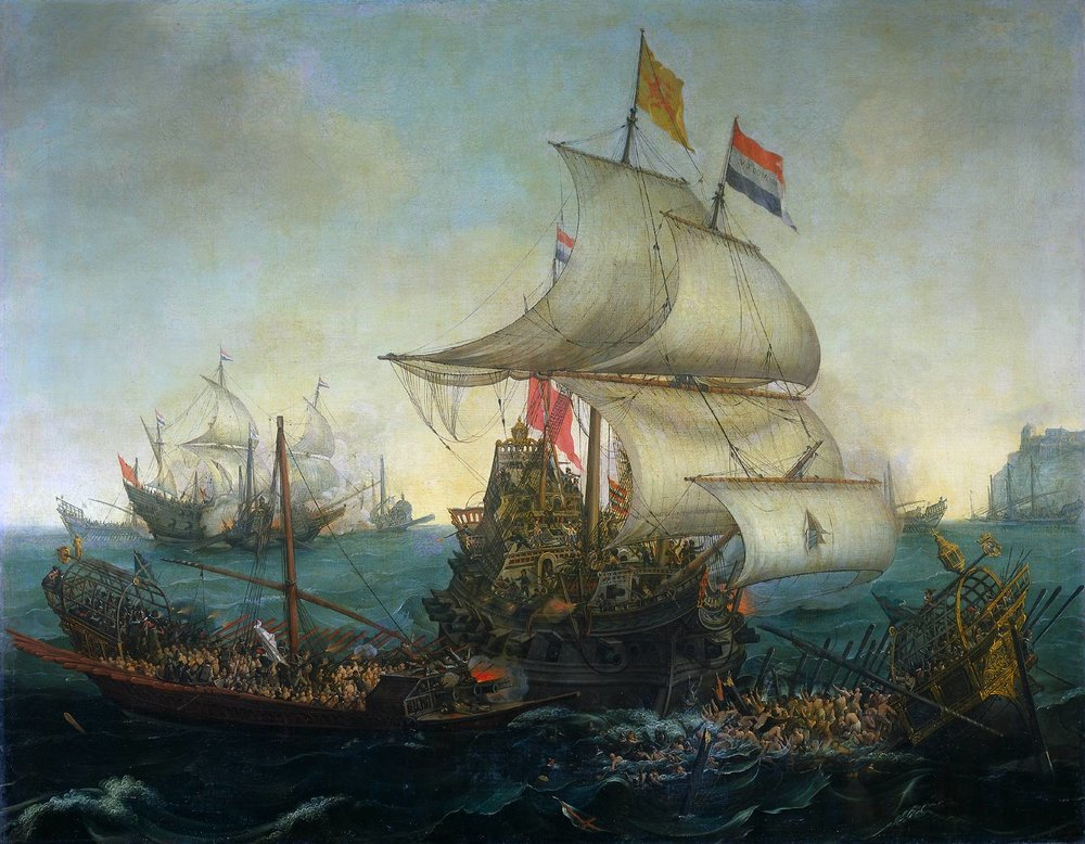 Dutch Ships Ramming Spanish Galleys off the Flemish Coast in October 1602,      Hendrick Cornelisz. Vroom, (1617)