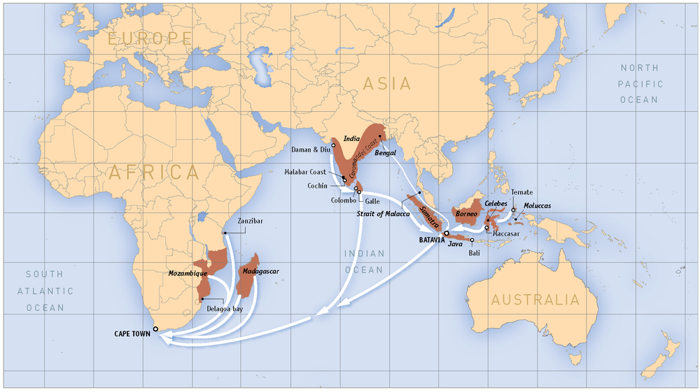Trade routes across the Indian Ocean and Asia, used by the Dutch since the early 1600s.  Source