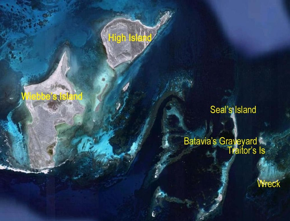 "Satellite image of the ""Wallabi Group"" of islands in the Houtman's Abrolhos."