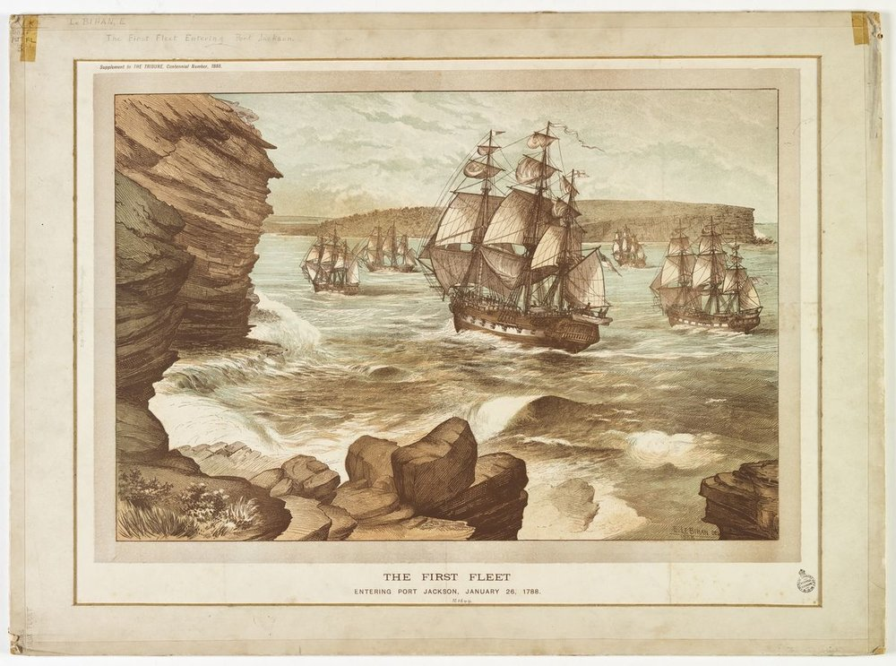 The First Fleet entering    Port Jackson    on 26 January 1788  by  Edmund Le Bihan