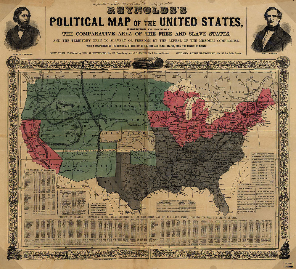 """Reynolds's Political Map of the United States"" (1856)    from the Library of Congress Geography and Map Division"