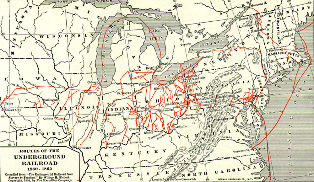 "Map from 1898 projecting believed Underground Railroad routes. Compiled from ""The Underground Railroad from Slavery to Freedom"" by Willbur H. Siebert, The Macmillan Company, 1898   Source"