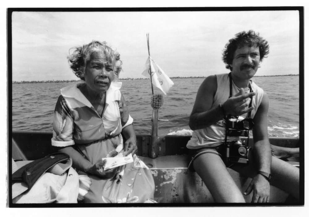 Fernando Pereira with Rongelap Islander Bonemej Namwe during Greenpeace missions relocating people affected by nuclear testing near the Marshall Islands.