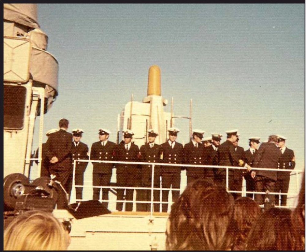 New Zealand PM Norman Kirk addresses crew of HMNZS Otago before their departure to protest French testing at Mururoa, with cabinet minister Fraser Coleman aboard. Photo by Philip Hare