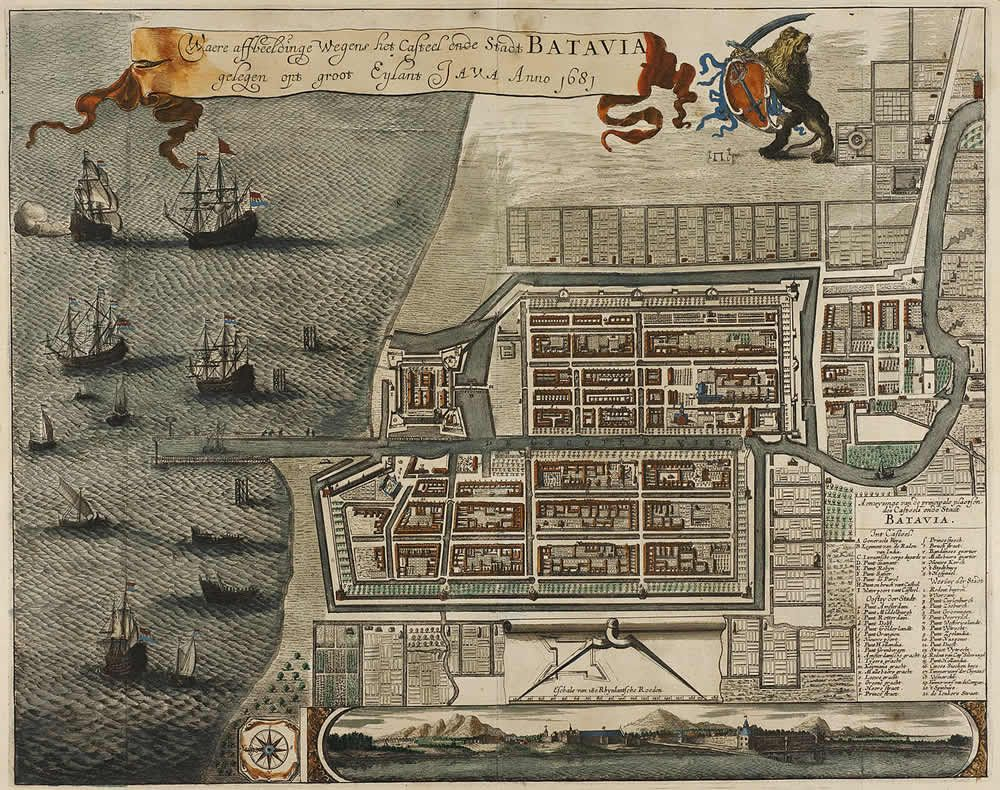 Copperplate map of the fortress at Batavia ,  c. 1669
