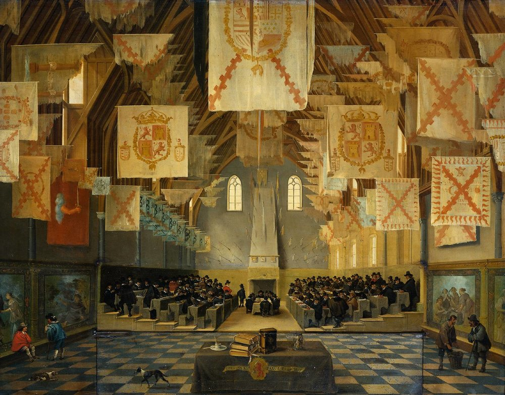 Interior of the big hall of the Binnenhof in the Hague during the great assembly of the States General, 1651,  Attributed to Bartholomeus van Bassen, (c. 1590-1652)