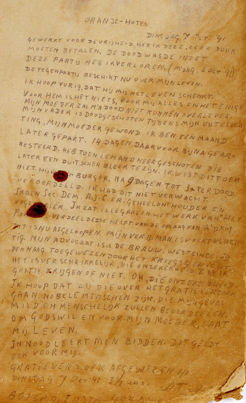 Arie Addicks' last letter written from his cell.  Versetzmuseum Amsterdam
