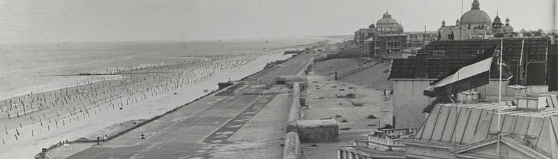 Scheveningen beach after the liberation, with the remnants of the Atlantic Wall defences.