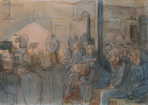 Prisoners in Vught concentration camp listening to a fellow inmate giving a concert.  Concert in Vught Blok 2  watercolour by Arie Emens, ( Image Bank WW2 - Nationaal Monument Kamp Vught - Arie Emens)