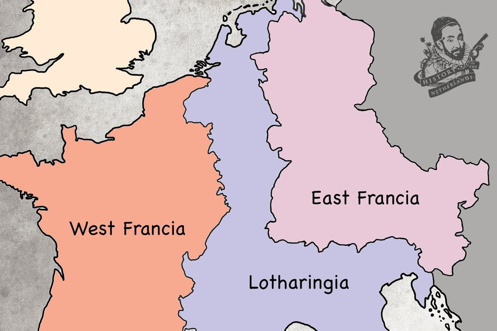 The Low Countries at the north of Lotharingia, wedged between two powerful rivals.