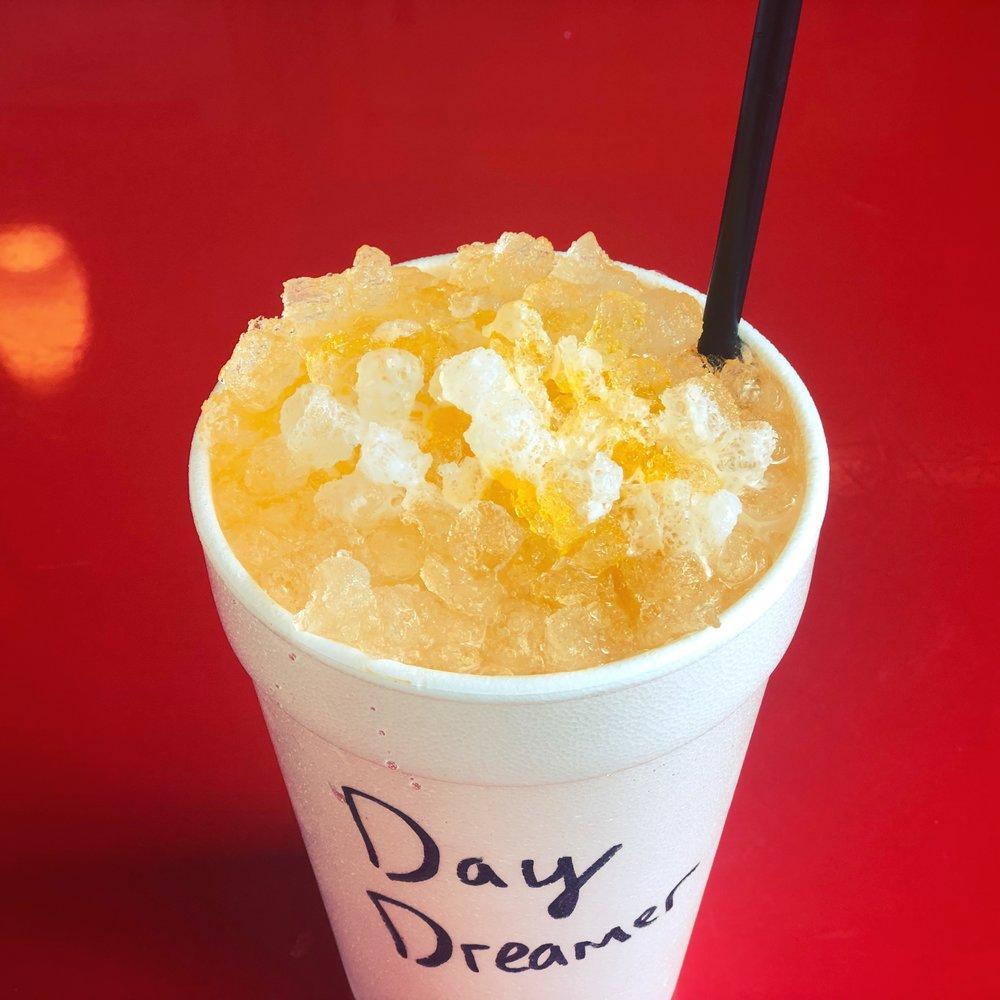 Sprite, orange, and cream