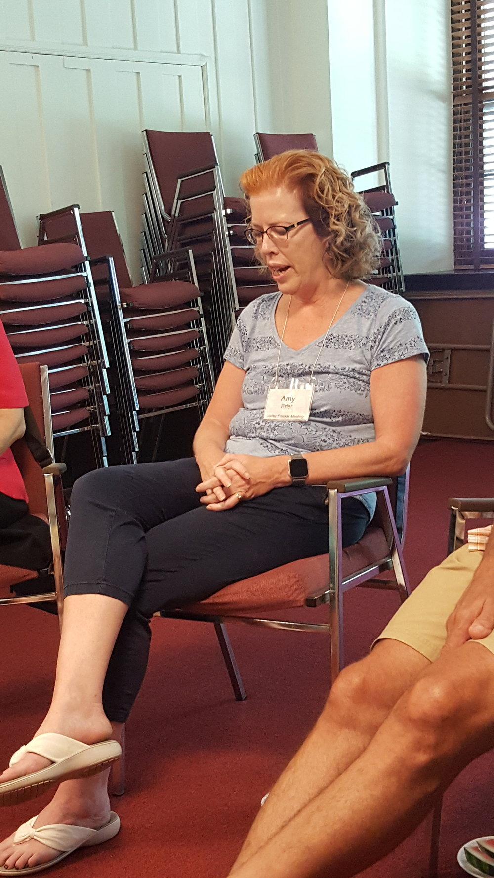 Amy B spoke of her history and explained her weekly phone prayer with a friend.