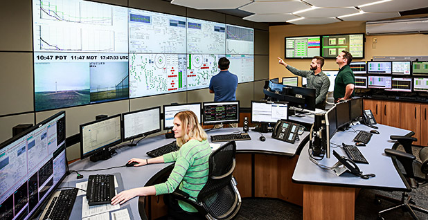 "The San Francisco control room of NaturEner, which monitors the output of Montana wind farms and blends it with hydropower to create ""firm"" power. – NaturEner"