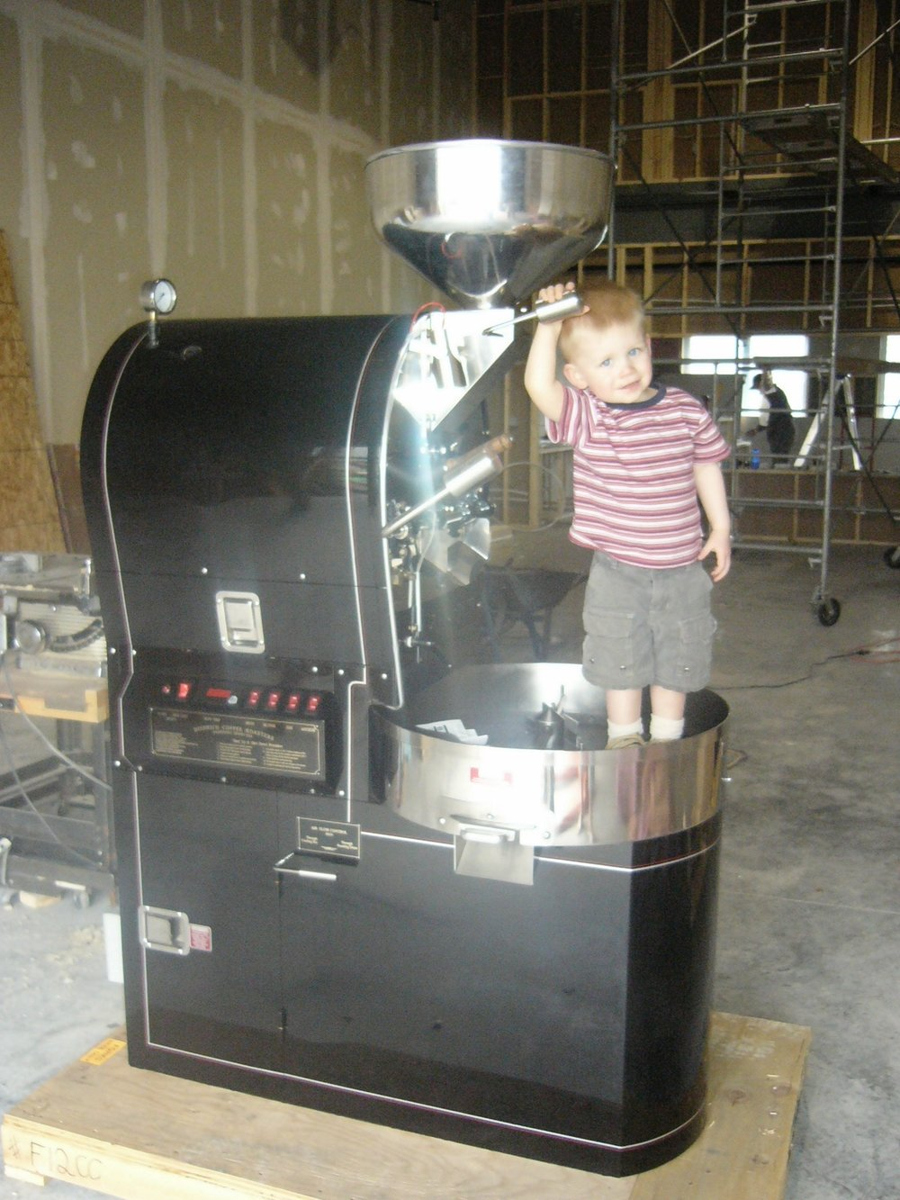 My son Andrew (2 years old) standing in the cooling tray of the new Deidrich IR7