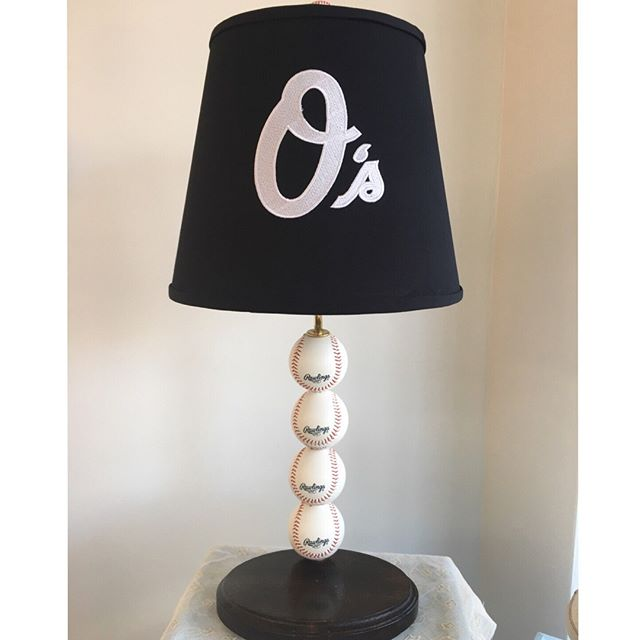 Go O's! A local Baltimore FANatic had us create this custom lamp and shade for Christmas. Monogrammed lettering on a black shade. Classic!  #baltimoreorioles #customlamp #customshade #downtownlufkintx