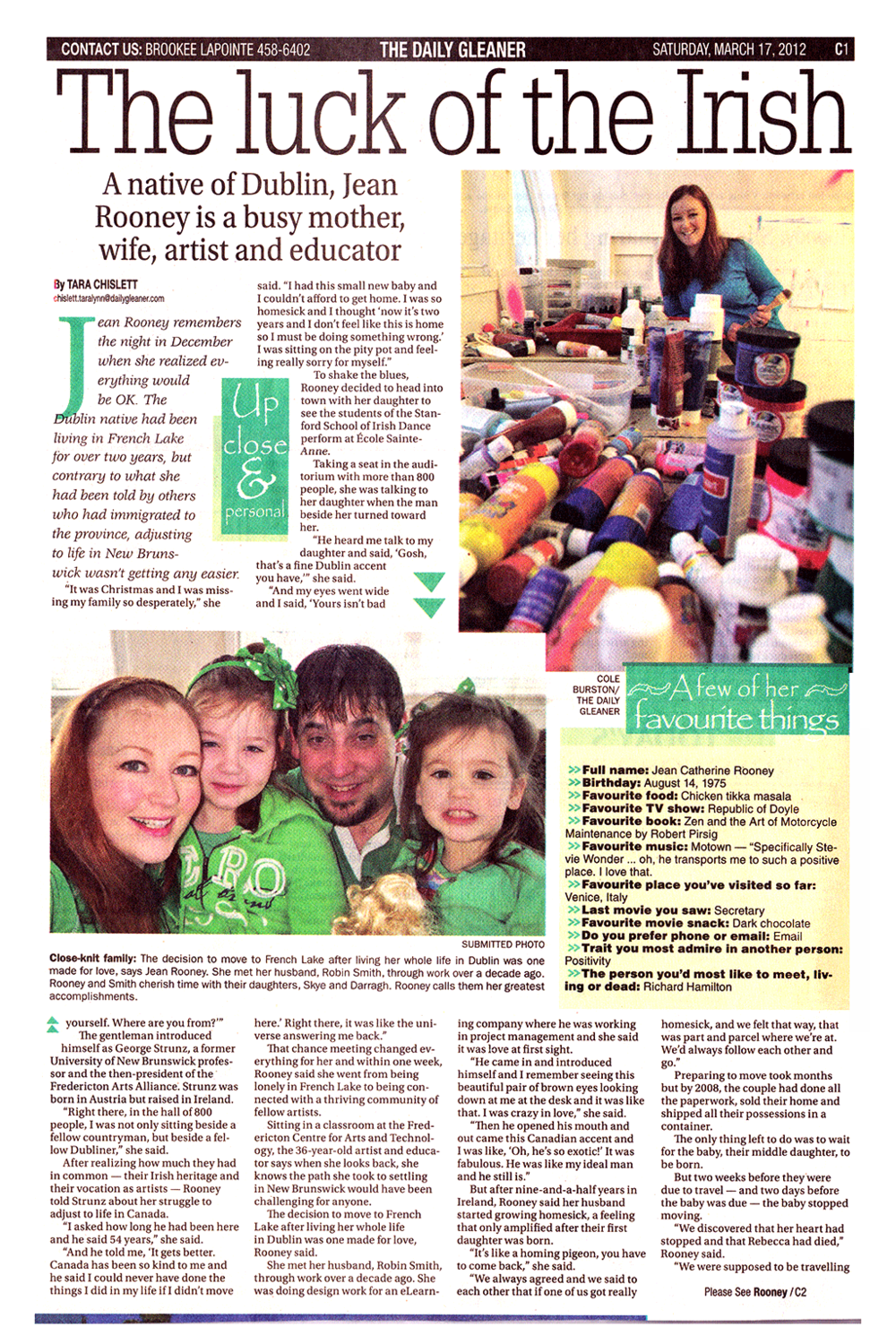 Jean Rooney Article on Immigrant Artist 2012