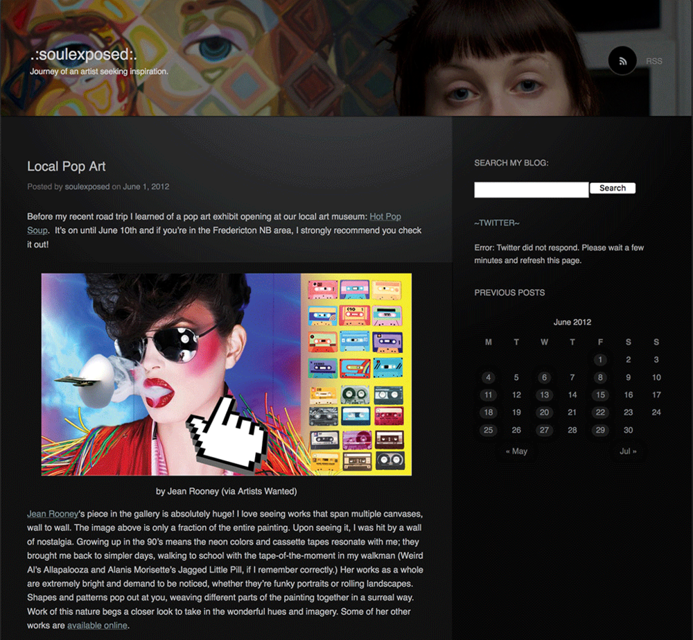 Blog Coverage of Jean Rooney artwork 2012