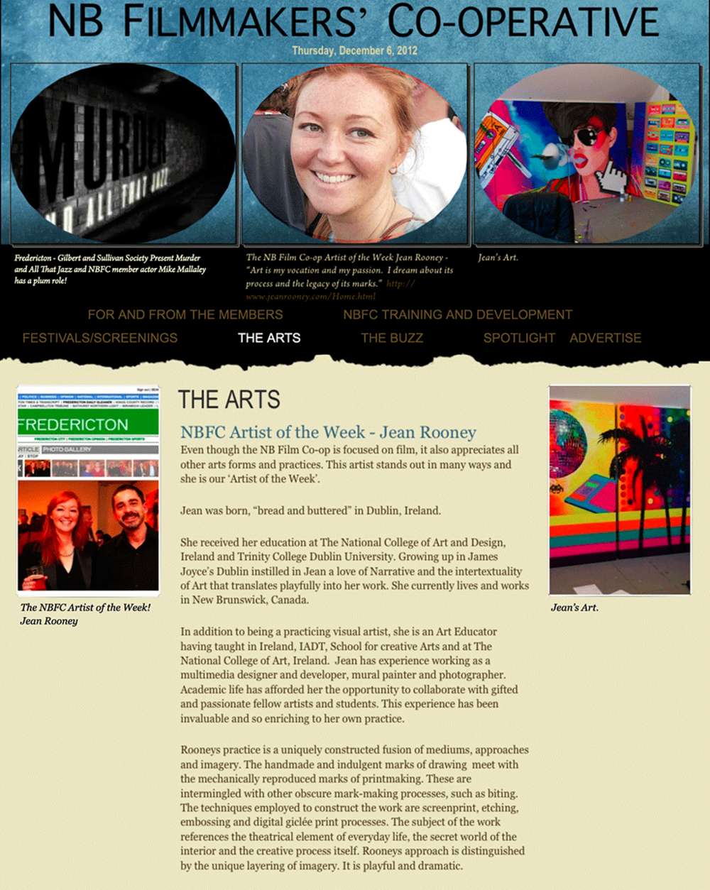 Jean Rooney Artist of the Month 2012