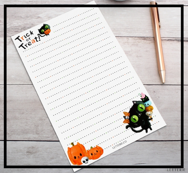 Trick or Treat Black Cat Letter Writing Paper