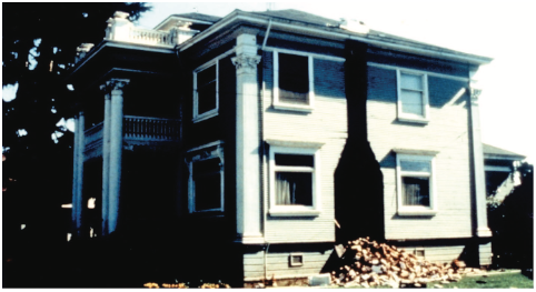 Figure 5: Example of chimney collapse. Source: FEMA 74, see link below