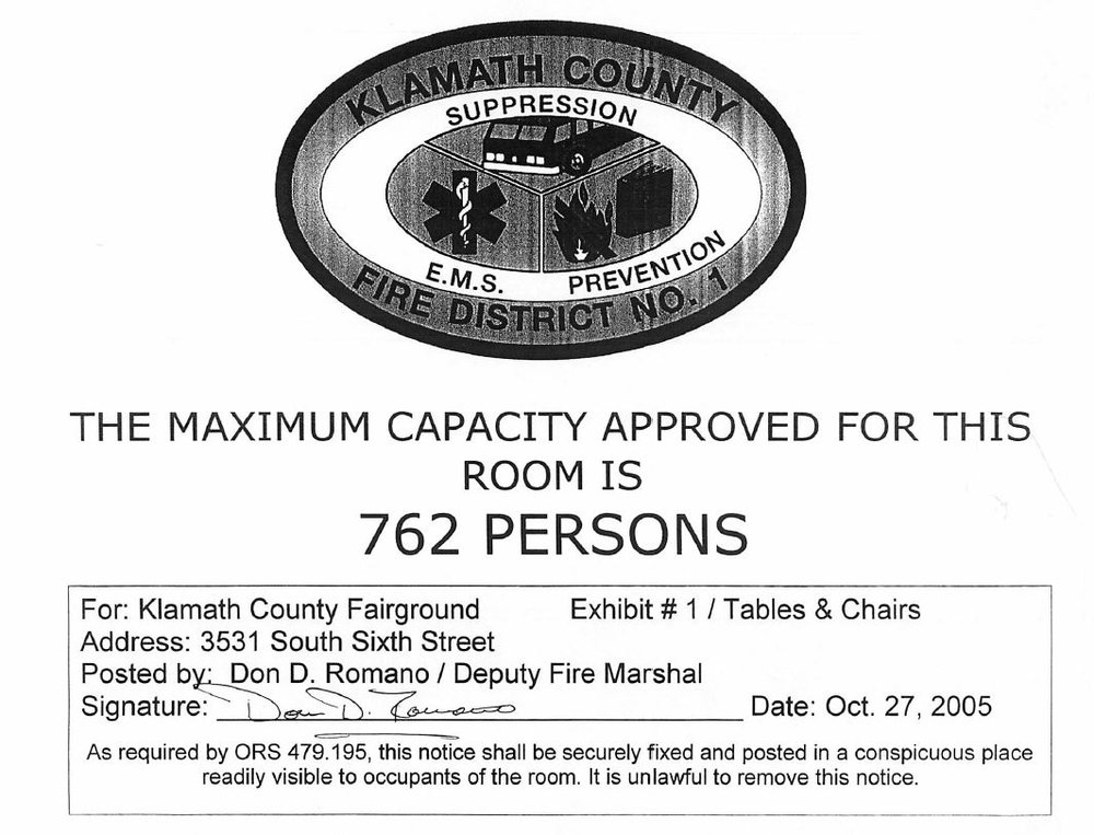 Max Capacity with Tables and Chairs