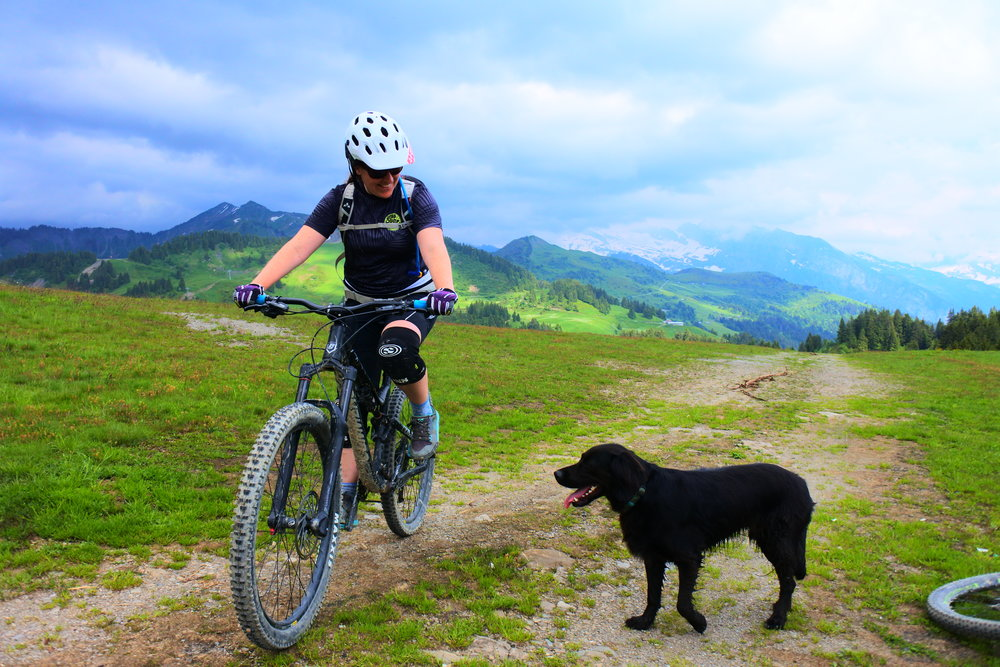 Marce & Indi the lease dog in the French Alpes near Morzine/ Les Gets