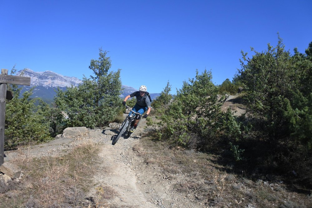 Tomi from Finland enjoying the trails around the village of Guaso