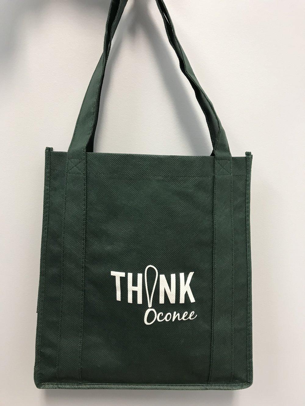 Th!nk Oconee Bag - Where to find them:M. Tannery & Sons (Seneca, SC)Green Springs (Seneca, SC)Loblolly Arts (Seneca, SC)Casual Carolina (Seneca, SC)Twenty 8 West (Walhalla, SC)