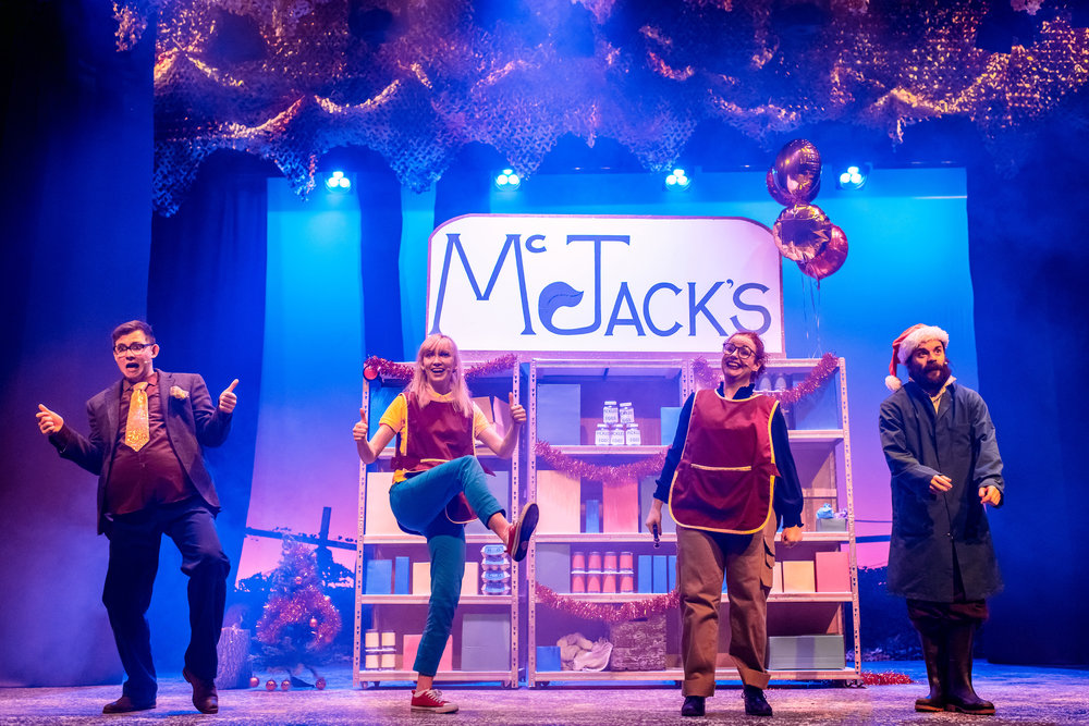 Joshua Aitken, Kim Allan, Sarah McCardie and Ross Mann  in Jack and the Beanstalk II Return of the Farmer, photo by Mihaela Bodlovic.jpg
