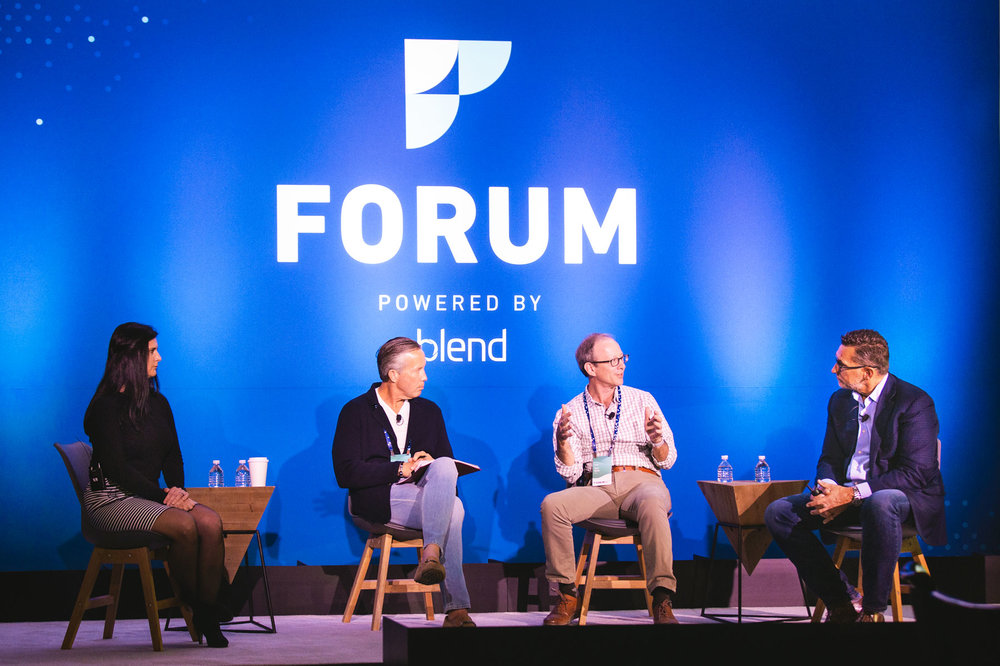 Dale Vermillion leading a panel discussion on mortgage innovation at the first-ever Blend Forum at the Carmel Valley Ranch in San Francisco, CA. Photo courtesy of Kaitlin Sullivan.