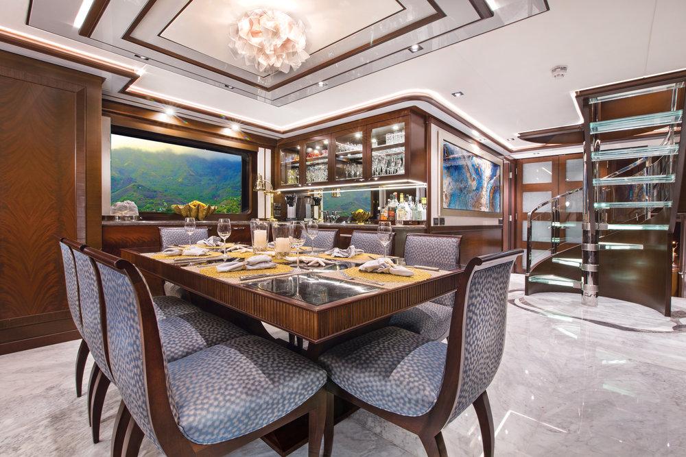 Luxury Charter Yacht Vivierae II Formal Dining