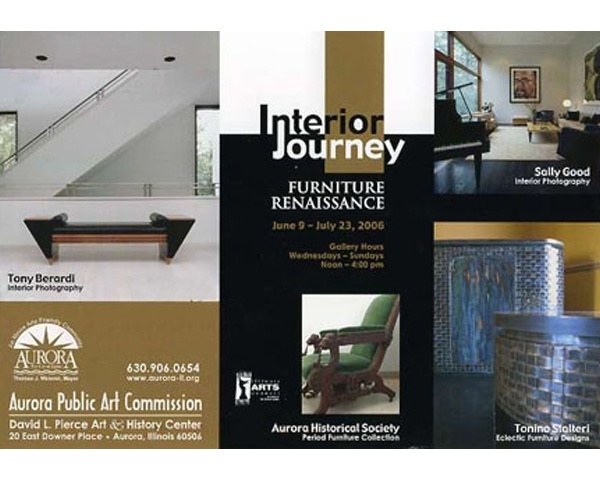 HOUSE FOR AN ART COLLECTOR FEATURED IN PHOTOGRAPHY EXHIBIT - Interior Journey : Furniture Renaissance is an exhibit of Interiors and Furniture, opening June 9, 2006 at the David L. Pierce Art & History Center, located in Aurora, Illinois. Hosted by The Aurora Public Art Commission, the exhibit will include images of the House for an Art Collector by local Photographer Sally Good. posted on June 1, 2006 at 10:21am