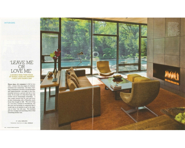 FIFTIES LOVE AFFAIR FEATURED IN CHICAGO TRIBUNE MAGAZINE - The August 3, 2008 edition of the Chicago Tribune Magazine features the Fifties Love Affair residence in a multi page spread.The article, titled 'Leave Me or Love Me,' describes the owners' decision to commission Grunsfeld Shafer Architects to expand and renovate their home of over twenty years. posted on August 18, 2008 at 11:31am