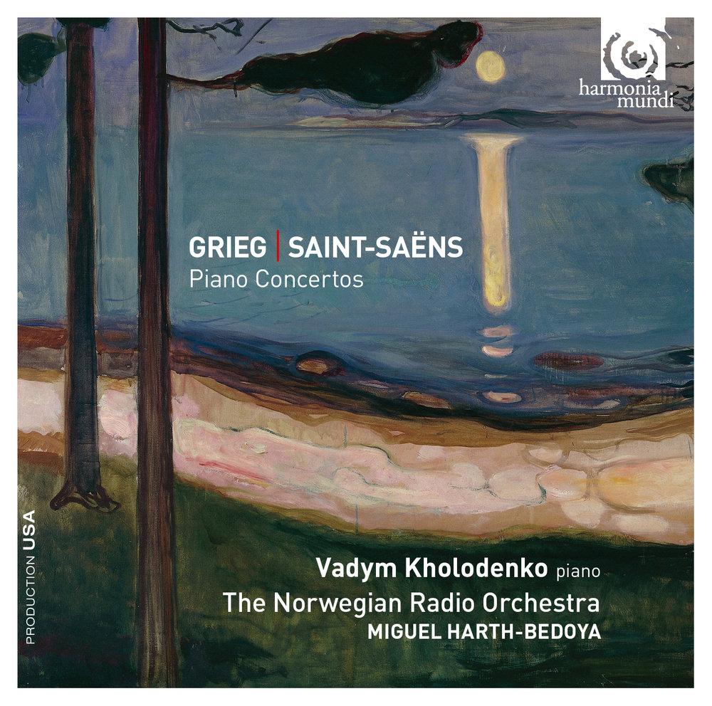 "Grieg/Saint-Saëns Piano Concertos - Vadym Kholodenko, pianoThe Norwegian Radio OrchestraMiguel Harth-Bedoya, conductorGRIEG: Piano Concerto in A minor, Op.16SAINT-SAËNS: Piano Concerto No. 2 in G. minor, Op. 22Released August 14, 2015 by harmonia mundi usa""For a truly outstanding recording of the Grieg, turn to Vadym Kholodenko, Miguel Harth Bedoya and the Norweigan Radio Orchestra, with its notably eloquent horn, cello and flute soloists making their presence felt alongside a pianist who allows the big tunes to breathe, knows exactly how to shape each movement and yet injects the urgency of a live performance into the proceedings"".""Editor's Choice,""GramophonePurchase at iTunes and Amazon.com"
