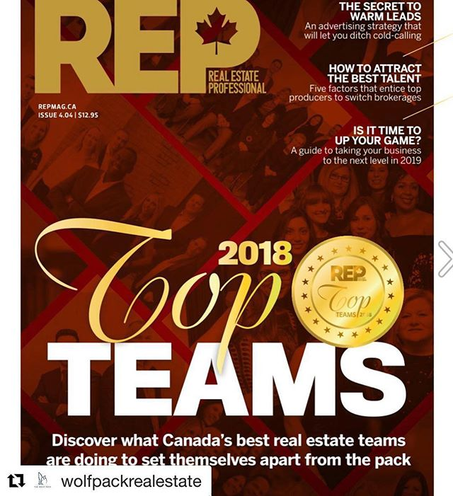 #Repost @wolfpackrealestate with @get_repost ・・・ We started this team with a mission to make an impact in the industry and raise the standard. In less than a year, we have followed through on that mission and Real Estate Professional magazine has just recognized our team as one of the Top 75 in the whole country! We take great pride in what we do and this is an honour. Thank you to all those who have shown continued support!