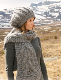 Slouch Hat & Cabled Scarf
