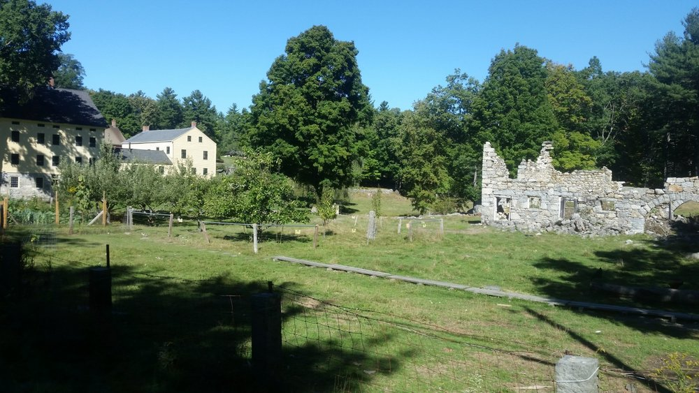 South Family House and ruins of the Stone Barn, Shaker Village, Harvard, MA