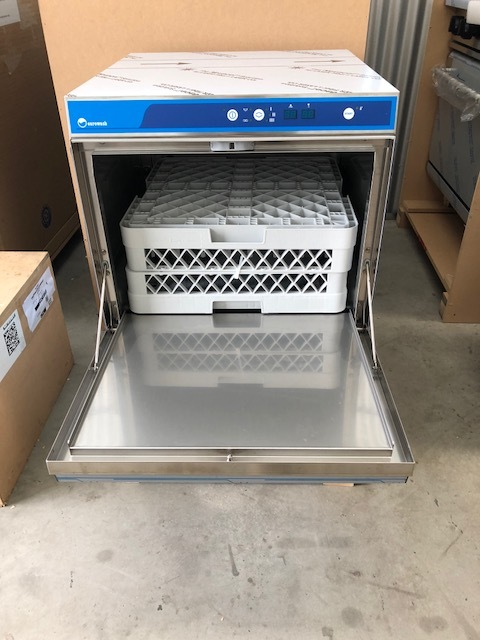 Eurowash Under Bench Premium Dishwasher - New   $ 3,775.00 + GST   Pumps - Drain, Rinse, Chemical. Fully Insulated Door, Quick Install, 500 x 500 Racks, 1,2,3 Minute Cycle Time  Dimensions : 575W x 600D x 830H