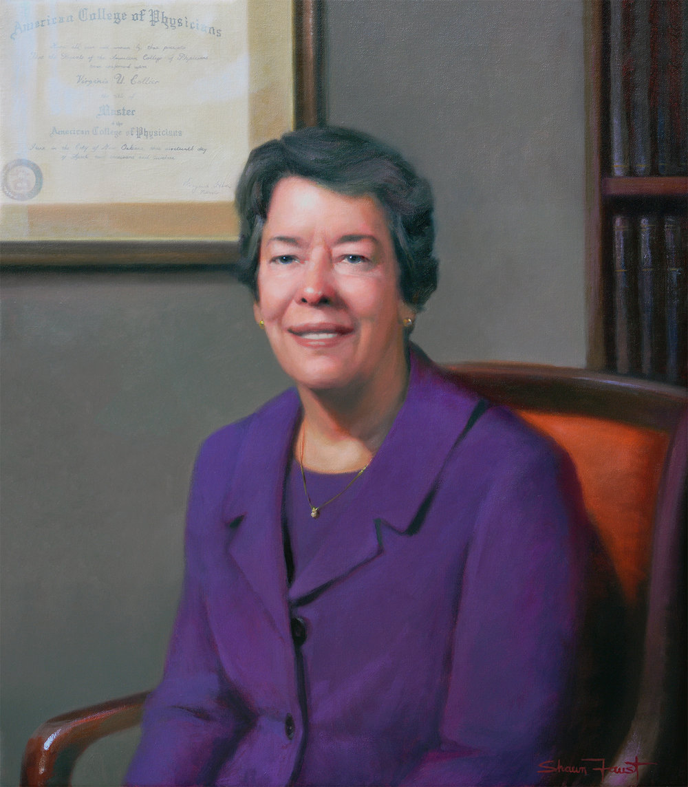 "Dr. Virginia Collier,  Chair of Medicine, Christiana Health Care 26""x30"" oil"