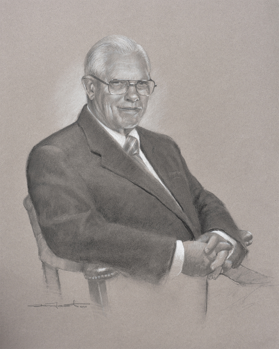 "Richard Johnson Sr.   18""x24"" graphite, charcoal & white chalk"