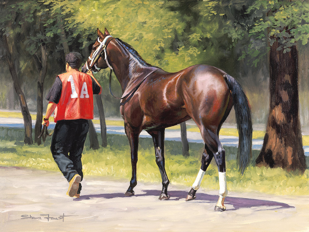 """1A To The Track   17""""x14"""" oil"""