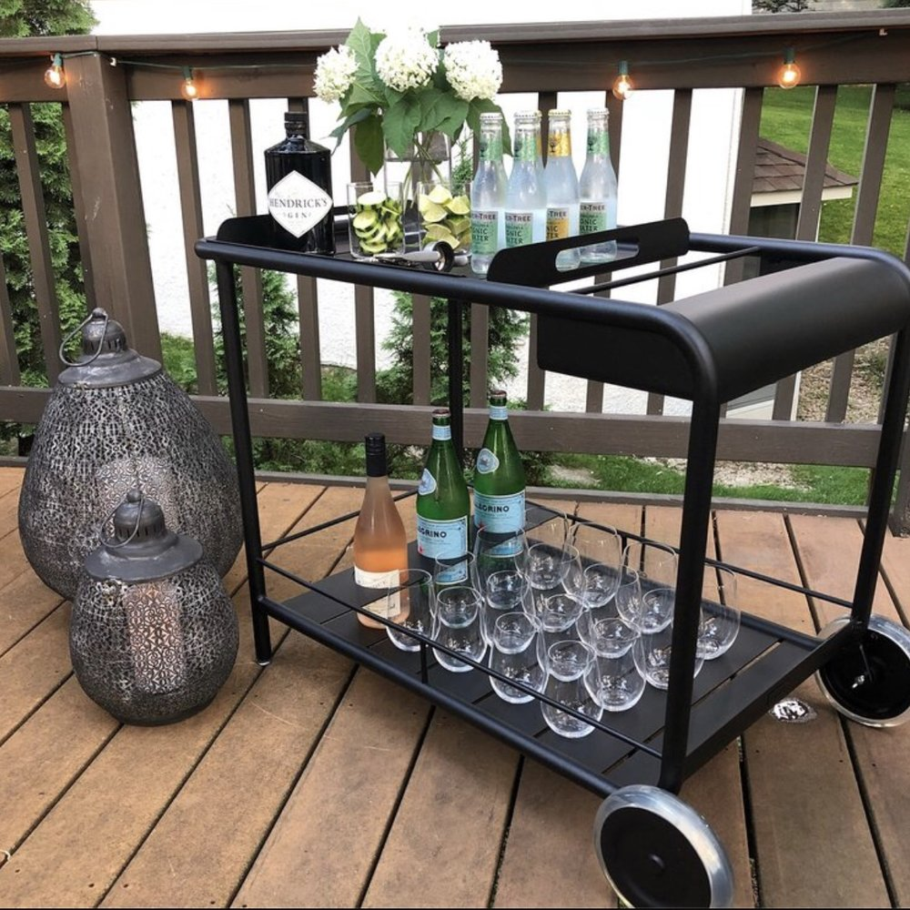 bar cart set up for summer entertaining