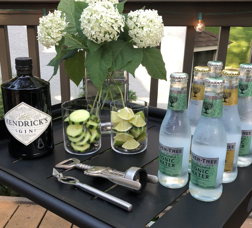 Gin and tonic bar cart setup